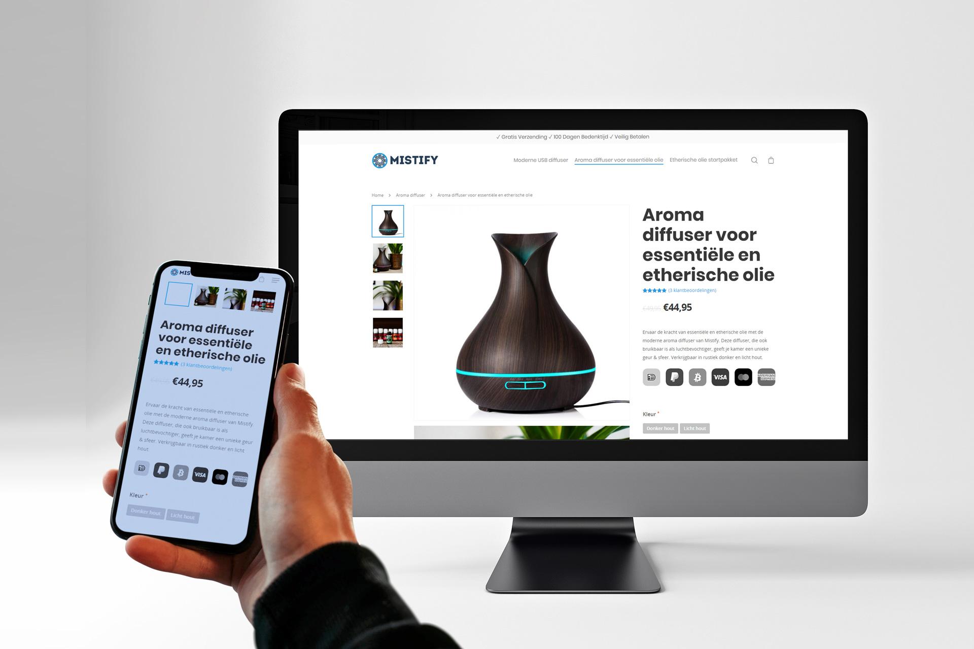Dewebsitebouwers.com heeft de responsive website van Mistify gemaakt